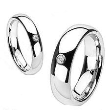 Solid Titanium Shiny Classic Traditional Wedding Engagement Bridal CZ Band Ring