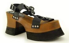 T.U.K A8684L Black Leather Harness Sandal Wood & Eva Woody