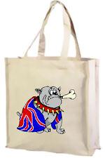 Cartoon, British Bulldog Cotton Shopping Bag, Union Jack - Choice of Colours.