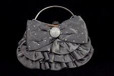 Satin Clutch Purse with Rhinestones in Black or Grey