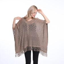 Ladies Poncho Stole Cape Shrug Wrap Shawl Jacket Jumper Sweater Tassels Pretty