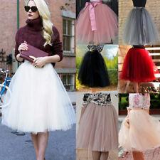 US Womens Tulle Tutu A line Skirt Short Knee Length Prom Princess Ballet Dress
