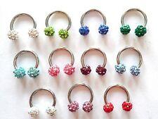 Crystal Balls Surgical Steel Choose Diameter Horseshoe Hoop Jewelry 16 gauge 16g