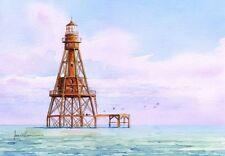 American Shoal Lighthouse, Florida Keys Sunrise. James Mann Watercolor Notecards