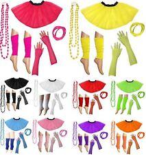 80s Neon UV Tutu Skirt Leg Warmer Gummies Beads Set Hen Party Fancy Dress Outfit