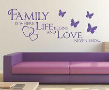 X267 Wandtattoo Spruch - Family is where life begins Familie love Wandaufkleber