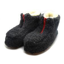 100% Sheep Wool Boots Cozy Foot Slippers Soft Sole Sheepskin Womens Mens Dark Gr