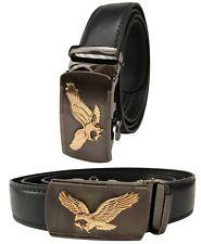 Men Black Genuine Leather Automatic Ratchet Click Lock Buckle Belt Gold Eagle