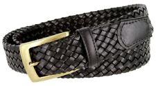 "BL043 Antiqued Brass Buckle Basketweaved Woven Genuine Leather Dress Belt 1-1/4"""