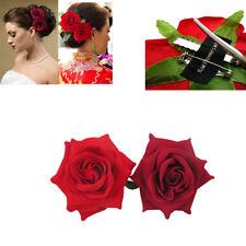 2 Silk Wine Red Rose Hair Flower Clips Bridal Hairpin Brooch Wedding Bridesmaid