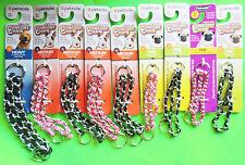Petmate Comfort Choke Chain Dog Collar & Woven Nylon Black or Pink Control Train