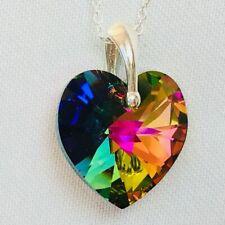 925 925 Sterling Silver Swarovski Elements Crystal 18mm Heart Necklace Pendant
