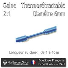 Gaine Thermorétractable 2:1 - Diam. 6 mm - Bleu - 1 à 10m #145