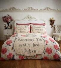 RELAX Crema/Rosso Flanella 100% Cotone Piumone/Trapunta copre set di biancheria da letto reversibile