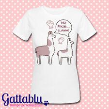 T-shirt donna No Probllama, lama divertenti kawaii, personalizzabile
