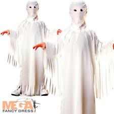 Blanc fantôme robe + capuche kids halloween ghoule déguisement enfant costume taille 3-10 ans