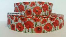 "Grosgrain Ribbon, Beautiful Poppy Flowers with Greenery, Veterans Day Flower, 1"""