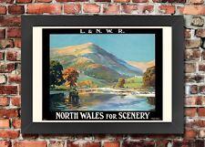 Tx283 vintage North Wales paysage l & n.w.r ferroviaire encadrée voyage Poster A3 / A4