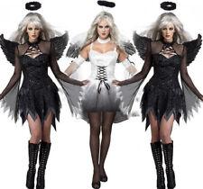 Halloween Damen Gefallener Engel Bad Dunkel Fee Kostüm Erwachsene Flügel Kostüm