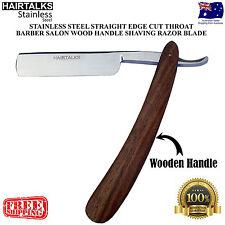 RAZOR WOOD HANDLE STAINLESS STEEL STRAIGHT EDGE CUT THROAT SALON SHAVING BLADE