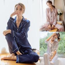 Women Silk Satin Pajamas Pyjama PJS Sets Sleepwear Loungwear Homewear Nightwear
