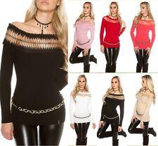 Sexy Koucla Pulli Longpullover Pullover Sweater mit Carmenausschnitt