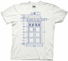 Doctor Who Police Box Tardis Blueprint White T-shirt