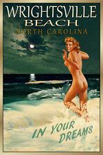 WRIGHTSVILLE BEACH N Carolina - Original New Poster Marilyn PinUp Art Print172