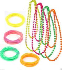 1x Beads Necklace 12x Neon Gummy Bangles Gummie Bracelets 1980s 80s Fancy Dress