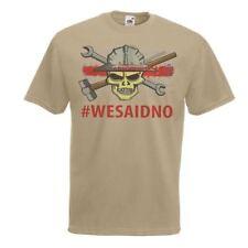 Mens Khaki We Said NO! To Fracking T-Shirt Anti-Fracking Red Line Campaign