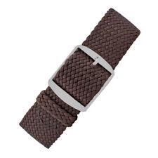 PERLON Premium Braided One-Piece Nylon Watch Strap & Steel Buckle in BROWN
