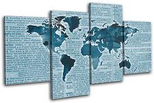 World Atlas Antique Book Blue Maps Flags Multi Canvas Wall Art Picture Print