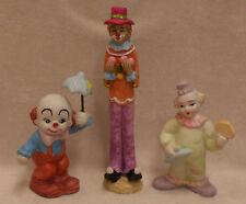 Lot Of 3 Clown Figurines Tall Short Ceramic Purple Red