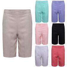 Ladies Loose Fit Lightweight Summer Knee Length Semi Elasticated Waist Shorts