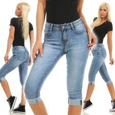 5978 Knackige Damen Capri Jeans Bermudas Shorts kurze Hose Caprijeans High-Waist