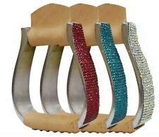 Showman Aluminum Crystal Rhinestone Stirrups! Pink-Teal or Iridescent Free Ship!