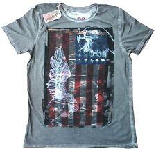 Amplified USA Stars & Stripes Skull Flag ENGEL & ADLER Saint Sinners T-Shirt S/M