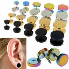 Acciaio Inox Piercing Orecchino Unisex Finto Dilatatore Fake ear Plug + Colori