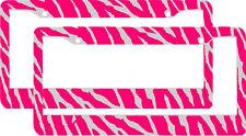 2 PINK ZEBRA PRINT pattern License Plate Frames lot 2