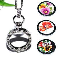 BLÜMCHEN +++ COIN MEDAILLON Kette Anhänger Halter Münze Halskette Blume Blüte
