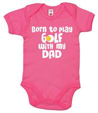 """drôle Body Bébé """" Born to play golf avec My Dad """" Grenouillère Cadeau vêtements"""