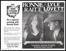 Bonnie Raitt Lyle Lovett Cleveland Concert Handbill