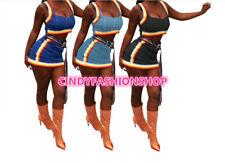 New Women  Sexy Club Wear Two Pieces Slinky Striped Tape Denim Cami  Top+Skirt