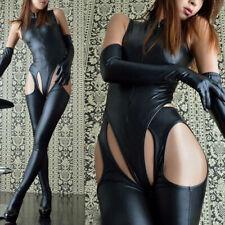 Womens Sexy Lingerie PVC PU Leather Wet Look Bodysuit Jumpsuit Dance Clubwear