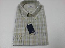 YUBRIS camicia uomo quadri begie 100 % cotone doppio ritorto vestibilità regolar