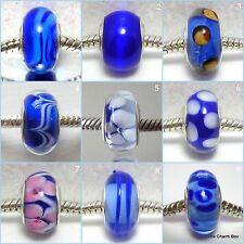 'ROYAL BLUES' -  Blue murano glass european charm beads - Various designs