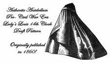 Antebellum Civil War Ladys Cloak Draft Pattern 1860Cape