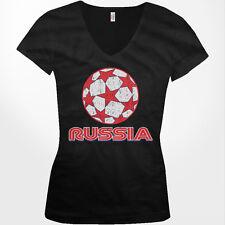 Russia Stars Soccer Ball Russian Country Team From RUS RU Juniors V-Neck T-Shirt