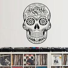 Sticker Tête de Mort Mexicaine Motif Fleur Rose, 30x21 cm à 87x60 cm (TDM007)