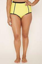 Forever 21 Plus Yellow Black  Textur High Waisted Bikini Bottom only  0X/1X/2X